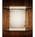Vertical old scroll paper on wooden background vector image