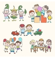 Childrens in kinder garden hand drawn vector image