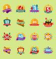 happy birthday anniversary numbers badge vector image