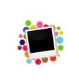 Polaroid on a colorful circles vector image