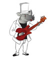 rhinoceros playing guitar vector image