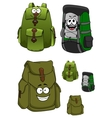 Travel backpacks cartoon characters with pockets vector image