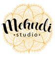 mehndi studio logo vector image