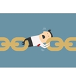 Businessman holding chain together as a link vector image