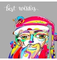 doodle drawing portrait of santa claus in vector image