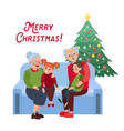 grandparents with grandchildren on christmas vector image