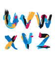 hand drawn with ink brush strokes alphabet letters vector image