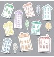 Houses doodles on white background vector image