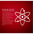 Atom flat icon on red background vector image
