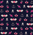 Pattern with Hearts Roses amd Anchors vector image