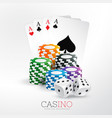 casino playing cards and chips with dice vector image