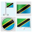 Tanzania flag - sticker button label flagstaff vector image