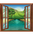 A window near the flowing river vector image