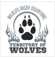 Footprint Wolves emblem - dangerous territory vector image