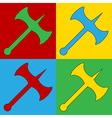 Pop art axe icons vector image