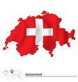 Map of Switzerland with flag vector image