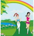 Jogging girls in summer vector