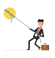 Businessman or manager pulling rope tied to a coin vector image