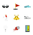 golf icons set flat style vector image