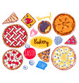 hand drawn pie slice cake icon set vector image