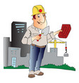 man with trowel and brick in front of a building vector image