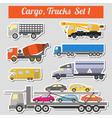 Set of elements cargo transportation trucks lorry vector image