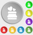 wedding cake icon sign Symbol on eight flat vector image