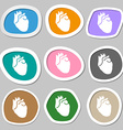 Human heart symbols Multicolored paper stickers vector image