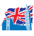 big ben of London with union jack vector image vector image