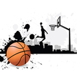 Man dunking basketball silhouette vector image