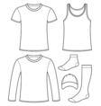 Singlet T-shirt Long-sleeved T-shirt Cap and Socks vector image