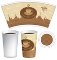 template paper cup with old town and coffee cup vector image