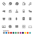 Collection Icons set Media vector image