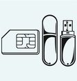 Usb flash memory and mobile phone sim vector image vector image