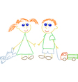 little girl and little boy vector image