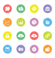 Colorful simple flat icon set 4 on circle vector image