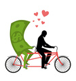 Money for bike Lovers of cycling Man rolls dollar vector image