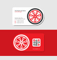 red business card with automobile wheel vector image