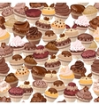 Seamless background made of cakes vector image