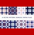 set 8 patterns seamless tartan plaid blue vector image