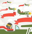 Flying vintage group of planes with banners vector image vector image