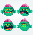 cartoon images of funny green zombies set vector image