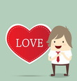 Business man with red heart married wedding invita vector image