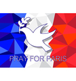 Pray for Paris with dove olive symbol vector image