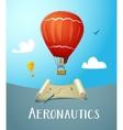 Aeronautics hot air balloon flying in blue sky vector image