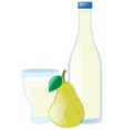 fresh pear and juice in two containers vector image
