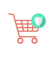 red shopping cart with green shield icon vector image