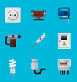 Set of 9 editable instruments icons includes vector image