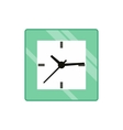 Square wall clock icon flat style vector image
