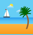 boat on beach with palm and clouds vector image